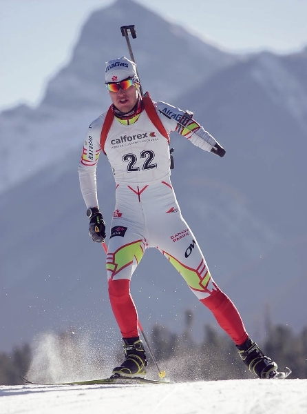 Mark Arendz in action with his new prosthetic arm at the Canmore Nordic Centre. Craig Douce RMO file photo