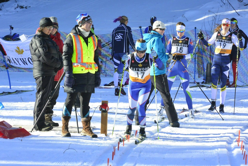The start of the women's 7.5 k classic interval start at the Black Jack NorAm opener on Dec. 13 in Rossland, B.C. (Photo: Fresh Cafe & apres/Facebook)