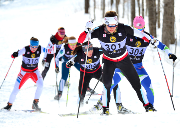 Women's action - Widmer leads McLean and Webster © Fred Webste