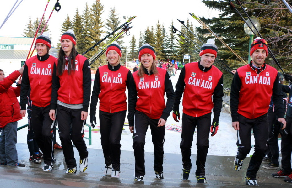 Six of the eight member biathlon team were on hand for the event from left are; Brendan Green, Rosanna Crawford, Zina Kocher, Megan Imrie, Nathan Smith and Scott Perras. The other two team members not at the event are Megan Heinicke and Jean-Philippe Le Guellec. Gavin Young Calgary Herald