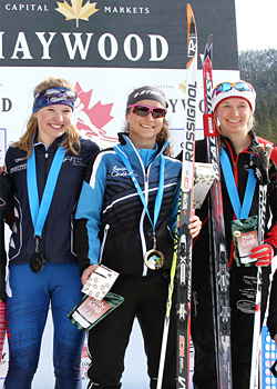 Fort McPherson's Annah Hanthorn, left, stands on the podium with Sophie Carrier-Laforte of Quebec and Ember Large of Alberta after the junior girls 10-km medal presentation at the Haywood Ski Nationals in Whistler, B.C., on March 26. Hanthorn was the silver medalist in the event. -James Cunningham, Cross Country Canada photo