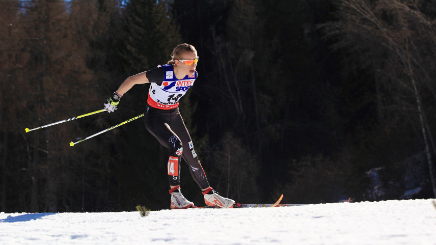 Liz Stephen's fifth-place finish is the best result ever by an American in the Tour de Ski. Photo: Sarah Brunson/U.S. Ski Team