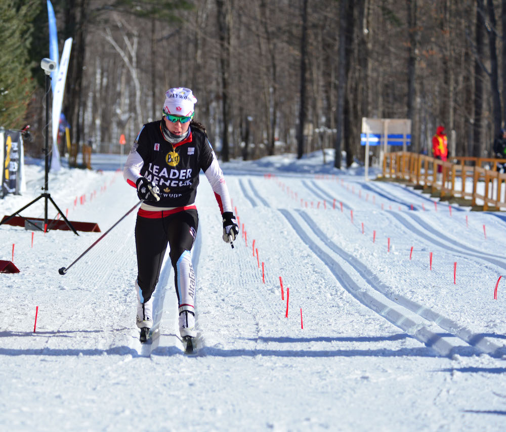 Emily Nishikawa winning the women's 15 k classic mass start by nearly a minute and three seconds on Sunday at the NorAm Eastern Canadian Championships in Gatineau, Quebec. Photo: Fred Webster