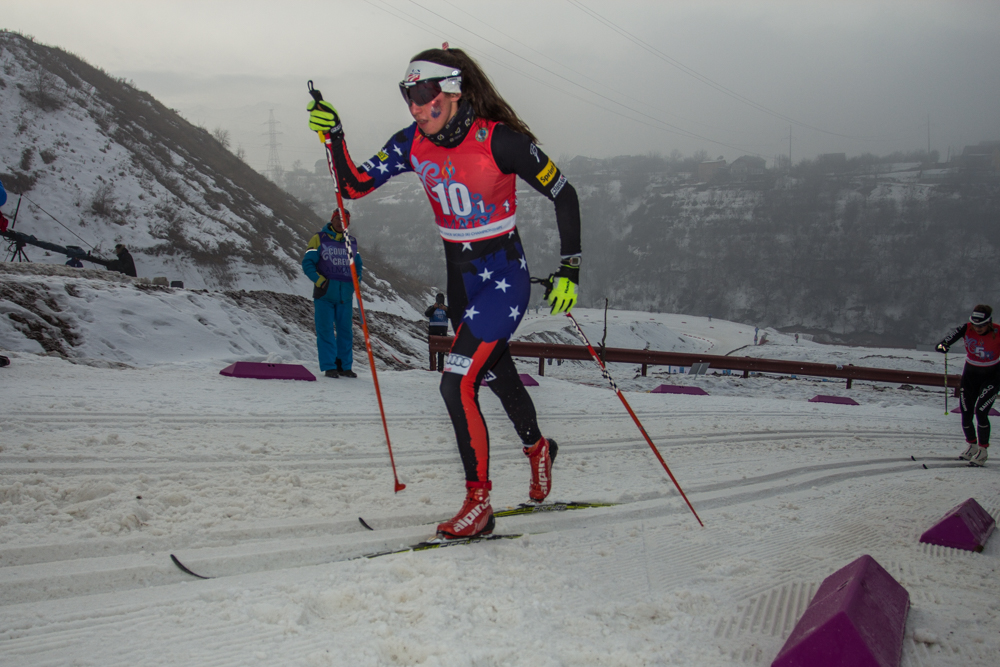 Julia Kern (CSU) races the first leg of the 4 x 3.3 k relay at the Junior World Championships in Almaty, Kazakhstan. The American women's team would go on to place eighth. Photo: Logan Hanneman.