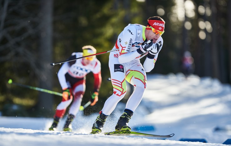 Canada's Michael Somppi (AWCA/NST-Dev.) on his way to 69th in the men's World Cup 15 k freestyle on Sunday in Ostersund, Sweden. (Photo: Fischer/NordicFocus)