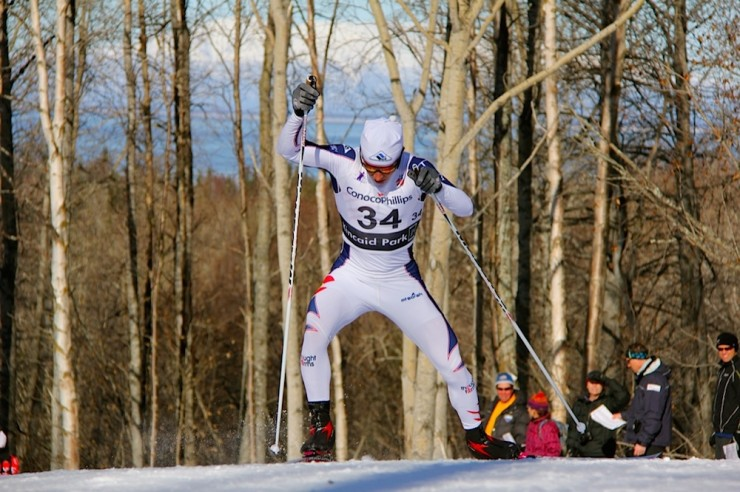Noah Hoffman placed 38th in Sunday's 15 k freestyle in Östersund, Sweden. It was his first World Cup finish since March 2014. He is pictured here racing in the 2014 SuperTour Finals at Kincaid Park in Anchorage, Alaska. (Photo: Rob Whitney)